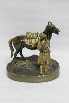 Lot 047 S78 - Russian Bronze of a Man & Horse, Marked - Est. $2000-2500 - Antique Reader
