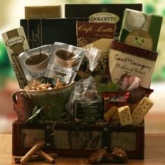 Trifecta Coffee Tea and Cocoa Gift Basket | Buy at All About Gifts & Baskets (http://www.aagiftsandbaskets.com/trifecta_gift_basket.html)