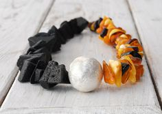 Necklace  Lava Rock and Amber Santorini Necklace by SunSanJewelry