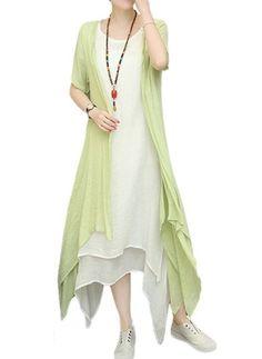 Bavlna Polyester Jednobarevný Krátký rukáv Vysoký Nízký Neformální Šaty (1017491) @ floryday.com