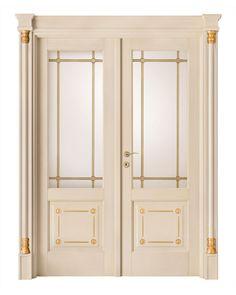 cod. Q-13 alder finitura veneziana con particolari oro - porta doppio battente con cristalli doppio legato ottone, portale con capitello lineare e particolari oro