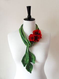Fiber Felt Necklace Poppy Flower Necklace bib necklace neck piece a great feature to any outfit hand felted from merio wool and formed into the