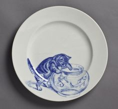 Minton Bone China, 1800's. One of a set of 12 plates, each of which is decorated w/ a different cat scene. Hand-painted blue-on-white. Kingston Lacy Nat'l Trust. Dorset. UK