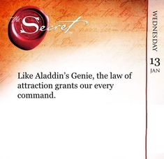 Like Aladdin's Genie, the law of attraction grants our every command. Get more daily quotes like this with The Secret Daily Teachings App www.tv/products/the-secret-daily-teachings-mobile-app Your {Manifestation Manifestation Law Of Attraction, Law Of Attraction Affirmations, Secret Law Of Attraction, Law Of Attraction Quotes, Genie Aladdin, Secret Quotes, A Course In Miracles, The Secret Book, Positive Affirmations