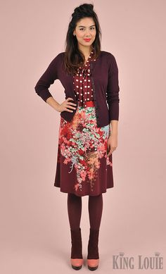 A/W 2015 Lookbook Image; Chinese vintage inspired floral printed Midi skirt 'Maiko' in combination with a burgandy classic cardi 'Cocoon' & a Bow blous Party Polka | deep red tones