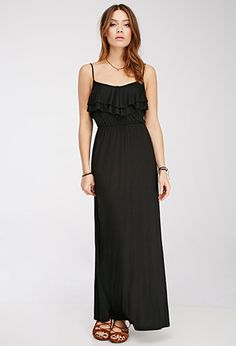 Forever 21 Flounce Maxi Dress $15.90 Comes in black, pinkish red, yellow, and sky blue