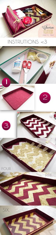 Chevron Organizer. I would have to substitute the glitter for something else