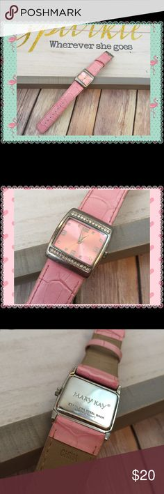 Pink Sparkly Mary Kay Wrist Watch EUC, sturdy pink vegan leather band, face is pink with clear Rhinestones on top and bottom, has second hand. Needs battery. Mary Kay Accessories Watches