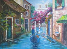 Village in Europe - Venice, Italy. Water, city, scenery and flowers. Art Village, Venice Italy, Original Art, Scenery, Europe, Wall Art, Canvas, City, Water