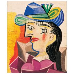 Woman with a Blue Hat, 1938 by Pablo Picasso - art print from King & McGaw Picasso Prints, Kunst Picasso, Art Picasso, Picasso Paintings, Portraits Cubistes, Cubist Portraits, Georges Braque, Picasso Still Life, Cubist Movement