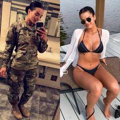 Beautiful badasses in (and out of) uniform Photos) - A Women Sexy Bikini, Bikini Girls, Women Bikini, Poses, Female Army Soldier, Military Girl, Military Jacket, Military Women, Girls Uniforms