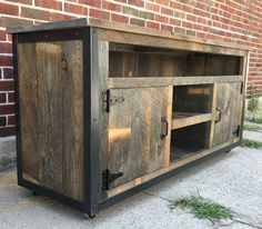 "Rustic Industrial weathered barn board entertainment center TV stand Reclaimed Wood 62"" (Natural Browns & Greys) $849. Itsy CrabbyLion"