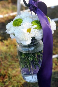 Wedding, Flowers, Green, Purple, Aisle, Jar, Mason, Hooks