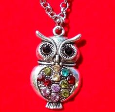 """New OWL Necklace Silver Tone Rhinestone Crystal Jeweled Stomach 20"""" Long Chain #Handmade #Pendant"""