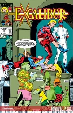 This is the cover for Excalibur #9, drawn by Alan Davis. Alan didn't draw the cover or interiors for Excalibur #8, for those keeping score. Another great funny visual, with the highlight being the expression on Captain Britain's face.