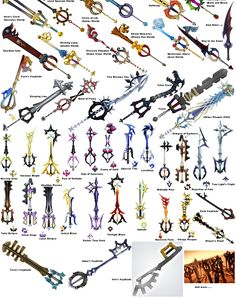 keyblades...I wish I knew these all by memory. Id be such a keyblade master ^_~