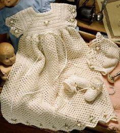 Free Crochet Christening Gown | ... crochet christening set pattern crochet number of projects 3 piece