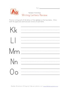 writing letters k to o
