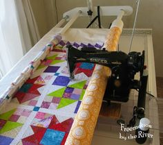 Quilting on a frame using a Singer 15-91