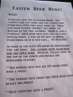 Easter Beer Hunt Rules :)