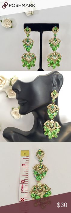 NEW💚GREEN PAGEANT PROM HOMECOMING FORMAL EARRINGS Gorgeous new Green 3+ Inch long Earrings!! Green stones & AB stones on gold metal which are perfect for any occasion!! Jewelry Earrings