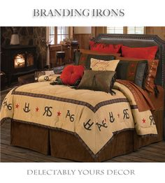 Branding Iron bedding comforter set features a super soft micro suede comforter with branding iron motifs framing the comforter's edge. A chocolate brown faux leather accent highlights the fringed two tone pillow shams with embroidered red stars and square red micro suede pillow with studded accents complets the true western look any cowboy or cowgirl will love coming home to. Embroidered western star sheets, curtains, valance, shower curtain, towels western decor.