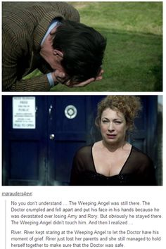 Crying now (As much as I love Rose Tyler and demand they are together, River Song is the best wife the doctor could have. She protected him in his greatest time of need. 11th Doctor, Doctor Who 9, Geronimo, Charlie Chaplin, Tardis, Fandoms, Crossover, Serie Doctor, Ella Enchanted