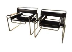 Pair, Mid Century Italian Knoll style Wassily Chairs