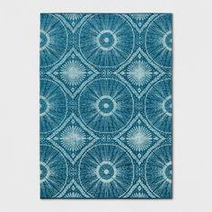 Teal Blue Medallion Woven Area Rug
