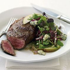 Rib-Eye Steaks with Radicchio, Pear, and Blue Cheese Salad recipe