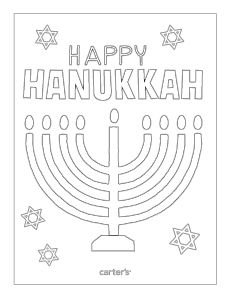 Free printable Hanukkah coloring page from Carter's. #CartersHoliday