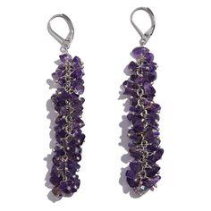 Glass, Amethyst Chip Earrings, Bracelet (7.5 in) and Necklace (20 in) in Silvertone TGW 264.220 cts.