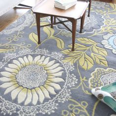 Amy Butler Lacework Rug in Blue for Sunroom or Basement LR
