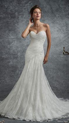sophia tolli fall 2017 bridal strapless sweetheart neckline ruched bodice elegant trumpet wedding dress chapel train (26) mv -- Sophia Tolli Fall 2017 Wedding Dresses