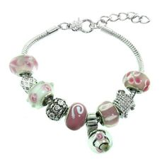 Pink Murano Style Glass Beads and Charm Bracelet