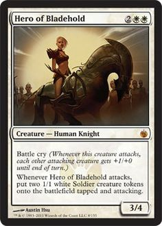 Magic: the Gathering - Hero of Bladehold - Mirrodin Besieged by Wizards of the Coast. $0.05. From the Mirrodin Besieged set.; A single individual card from the Magic: the Gathering (MTG) trading and collectible card game (TCG/CCG).; This is of Mythic Rare rarity.. Magic: the Gathering is a collectible card game created by Richard Garfield. In Magic, you play the role of a planeswalker who fights other planeswalkers for glory, knowledge, and conquest. Your deck of ...