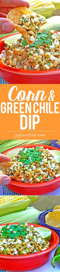 Corn and Green Chile Dip - the sweet, salty and spicy flavors of Mexican street corn come together in this delicious dip. Perfect for your next party, game day or snack anytime.