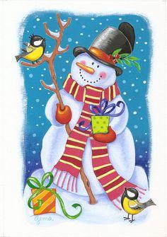 dibujos de muñeco de nieve a color - Buscar con Google