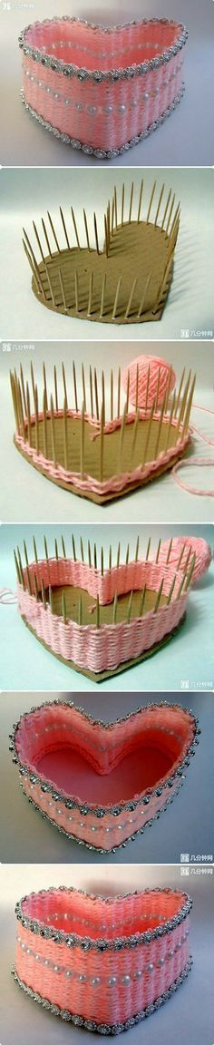 Yarn crafted heart using a heart shaped piece of cardboard (or foamboard) toothpicks and a small amount of yarn, and decorative embellishments!