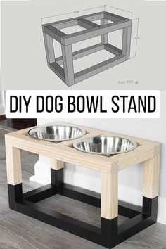 Easy and simple Modern DIY Dog bowl stand plans that are so easy to make! Perfect for small or big dogs! Plus it only costs $5! #AnikasDIYLife
