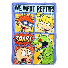 """Look back at the past with this nostalgic Nickelodeon Rewind """"Comic Strip Rugrats"""" Micro Raschel Throw Blanket by The Northwest Company. Featuring Chuckie, Tommy, and Angelica want Reptar on this bold and vibrant throw, this throw is known for it Reptar Rugrats, Ariel The Little Mermaid, How Train Your Dragon, A Christmas Story, Lilo And Stitch, Disney Mickey Mouse, Animal Pillows, Keep Warm, Comic Strips"""