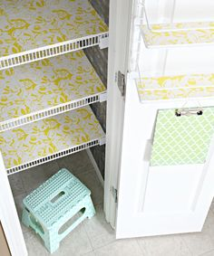 Foam boards and contact paper for wire shelving. From I Heart Organizing.