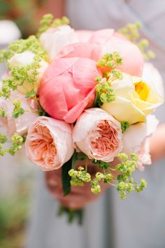 Coral Peony + Blush Pink Roses + Yellow Roses = Love this bouquet! More of the wedding, here: http://www.StyleMePretty.com/2014/05/09/marion-summer-waterfront-wedding/  Joyelle West Photography - jwestwedding.com