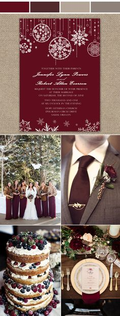 The Most Popular Burgundy Cozy Winter Wedding Colors