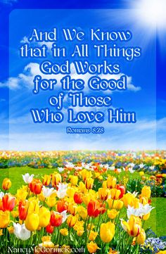 """Bible Quote: Romans 8:28 """"And we know that in all things God works for the good of those who love him."""""""