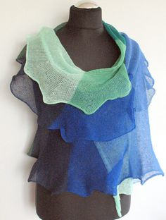 Linen Scarf Shawl Wrap Green Blue Azure Striped by Initasworks, $85.00