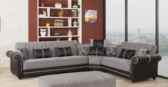 Royal Home Sectional Sofa in Quantro Gray Plain by Casamode