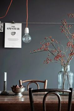Wall color, wood tones, simple vase with branches and candlestick. Inspiration for dining room makeover. Scandinavian Interior, Scandinavian Style, Swedish Style, Interior Inspiration, Room Inspiration, Design Inspiration, Interior Styling, Interior Design, Simple Interior