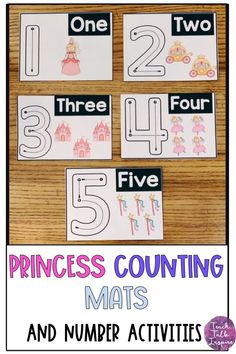 Princess Number Mats and Counting Activities Primary Activities, Number Activities, Counting Activities, Motor Activities, Hands On Activities, Toddler Activities, Preschool Prep, Toddler Preschool, Preschool Activities
