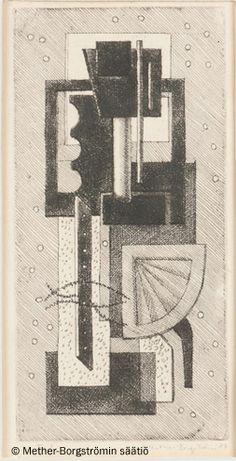 Ernst Mether-Borgström: Kone, 1957, etsaus, 18,4x8,8 cm - Mether-Borgströmin säätiö 2016
